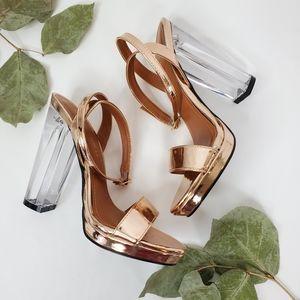 Shoe Republic LA Rose Gold PVC Open Toe Heels